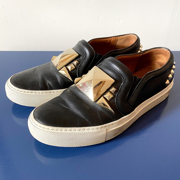 Givenchy Black and Gold Studded Slipon Sneakers 36